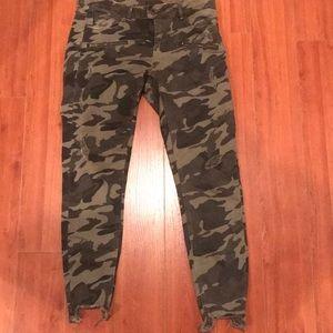 Zara Zip Front Camo Jeans